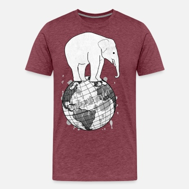 Aquarell Bunt Elefant auf Weltkugel / explore the world - Männer Premium T-Shirt