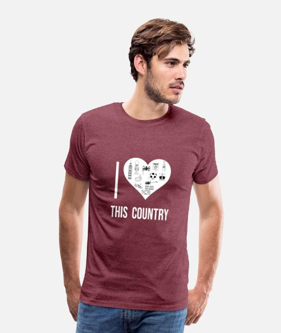 Travel Bug T-Shirts - I love This Country 9 - Men's Premium T-Shirt heather burgundy