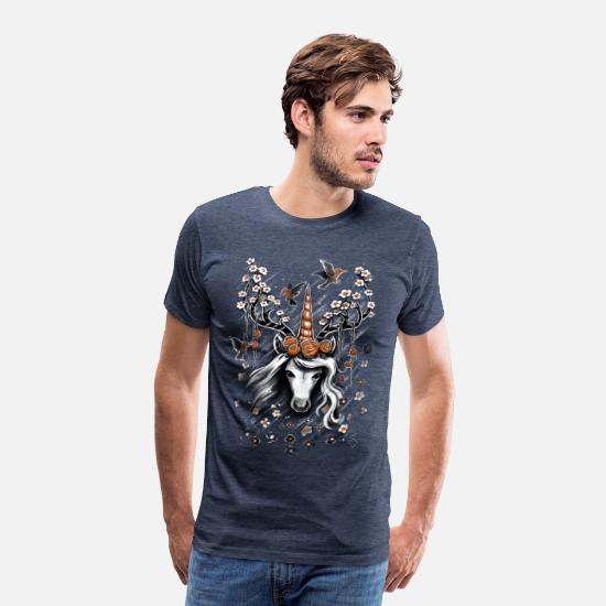 Nice T-Shirts - Deer Unicorn Flowers - Men's Premium T-Shirt heather blue