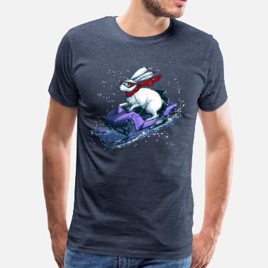 Funny Christmas Hare Snowmobile - Men's Premium T-Shirt