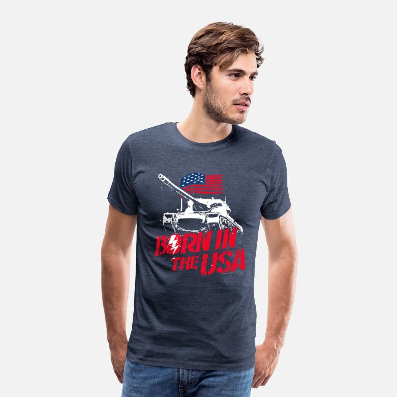 Officialbrands T-Shirts - World Of Tanks Blitz Born In The USA Slogan - Men's Premium T-Shirt heather blue