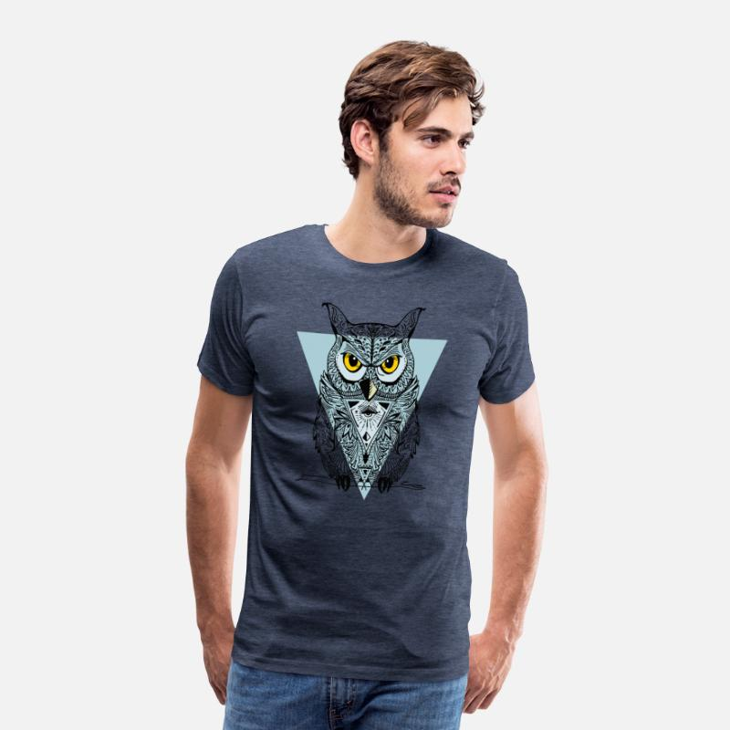 Love T-Shirts - Owl triangle illuminati swag bird eyes night lol - Men's Premium T-Shirt heather blue