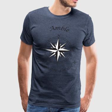 Amble, Northumberland   Compass (black) - Men's Premium T-Shirt