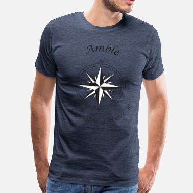 Northumberland Amble, Northumberland   Compass (black) - Men's Premium T-Shirt