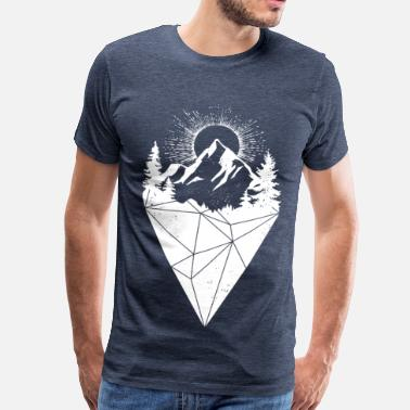 Hipster mountain sun grunge white - Men's Premium T-Shirt