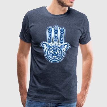 Hamsa Hand Of Fatima, symbol, eye, triangle - Premium-T-shirt herr
