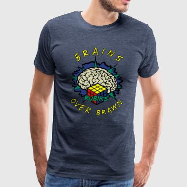 Rubik's Cube Brains Over Brawn - Männer Premium T-Shirt