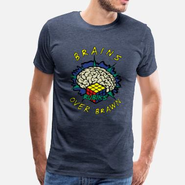 Rubik's Cube Brains Over Brawn - T-shirt Premium Homme