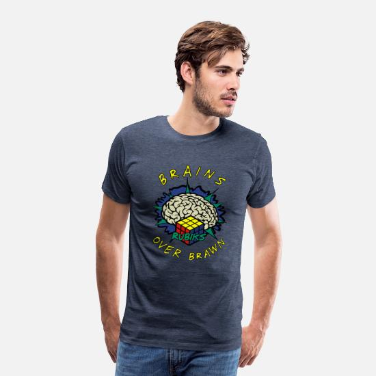 Officialbrands T-paidat - Rubik's Cube Brains Over Brawn - Miesten premium t-paita kanervansininen
