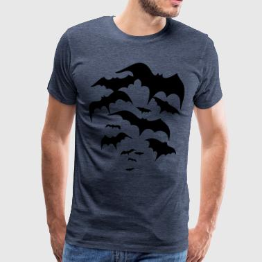 Swarm of flying bats. Vampires, dracula. - Men's Premium T-Shirt