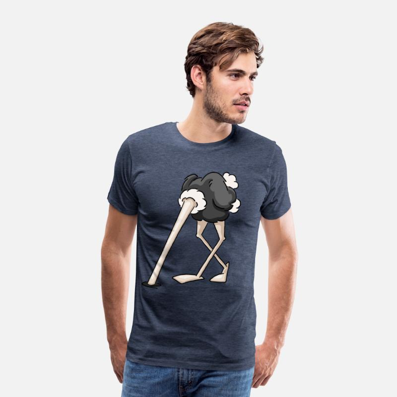 Ostrich T-Shirts - cool ostrich head in the sand funny gift - Men's Premium T-Shirt heather blue