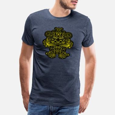 Curlicue Filigree tribal mandala dog cat bear in yellow - Men's Premium T-Shirt