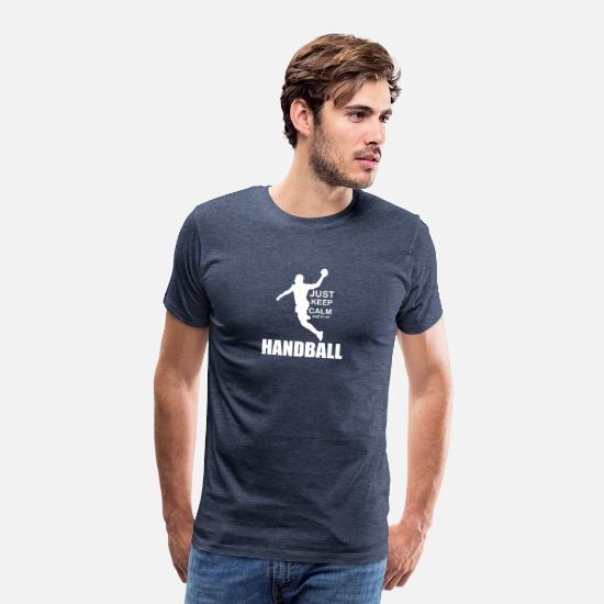 Handballer T-Shirts - Just keep calm and play Handball - Männer Premium T-Shirt Blau meliert
