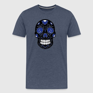 Traditional Mexican sugar skull, day of the dead. - Men's Premium T-Shirt