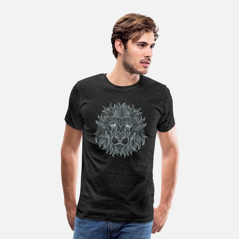 Boss T-Shirts - Lion white lion king outline mandala pattern head - Men's Premium T-Shirt charcoal grey