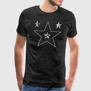 Four stars in gray - trendy pattern fancy star - Men's Premium T-Shirt