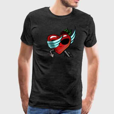 Retro Dabbing Heart valentines day gift for him - T-shirt Premium Homme
