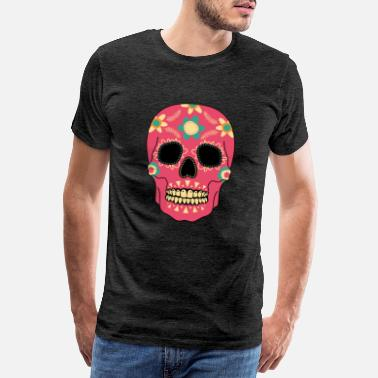 Skulle And Bones Red Skull - The Day of the Dead - Dia de los Muertos - Men's Premium T-Shirt