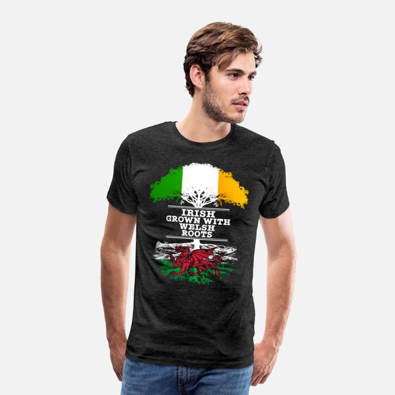 Wales T-Shirts - Irish Grown With Welsh Roots - Men's Premium T-Shirt charcoal grey