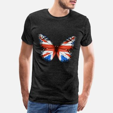 Welsh Flag Butterfly Flag Of Great Britain - Men's Premium T-Shirt