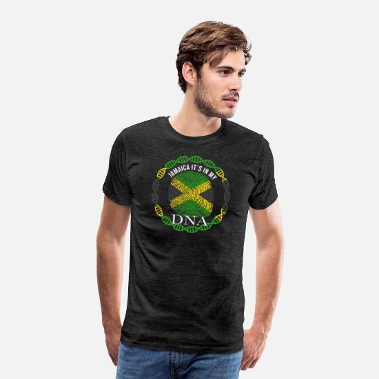 Jamaican T-Shirts - Jamaica Its In My DNA - Men's Premium T-Shirt charcoal grey