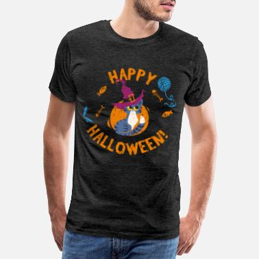 Best Grandpa Happy Halloween Kitten Grunge - Men's Premium T-Shirt