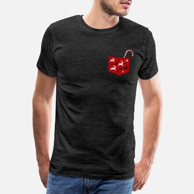 Breast Pocket Breast pocket with reindeer and candy cane - Men's Premium T-Shirt