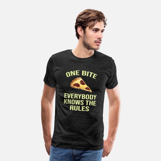 Italy T-Shirts - one bite pizza everybody knows the rules - Men's Premium T-Shirt charcoal grey