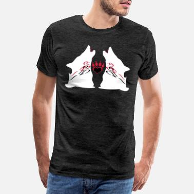 Bet Howling Twin Wolves with Bloody Teeth - Men's Premium T-Shirt
