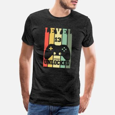 Unlocked Level 13 Achievement Unlocked 13th Birthday Design - Men's Premium T-Shirt