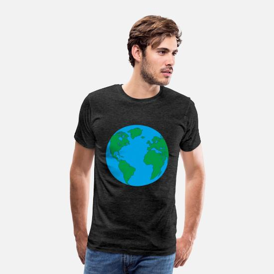 South America T-Shirts - Mother Earth home and blue planet with America - Men's Premium T-Shirt charcoal grey