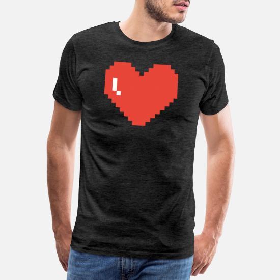 Grand Pixel Art De Coeur T Shirt Premium Homme Spreadshirt
