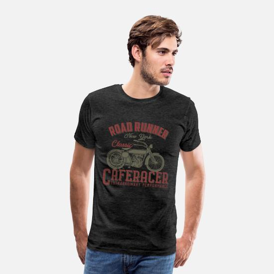 Motorcycle T-Shirts - road runner new york classic cafe racer - Men's Premium T-Shirt charcoal grey