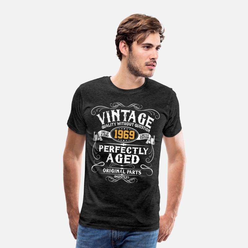 Funny T-Shirts - 50th Birthday - Vintage 1969 50 Years Gift - Men's Premium T-Shirt charcoal grey