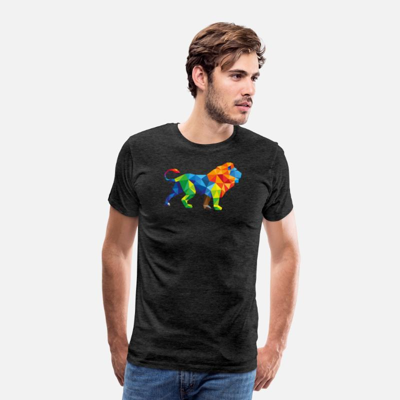 Abstract T-Shirts - Colorful Lion - Triangle Art - Men's Premium T-Shirt charcoal grey