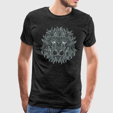 Lion White Lion King Outline Mandala Pattern Hode - Premium T-skjorte for menn