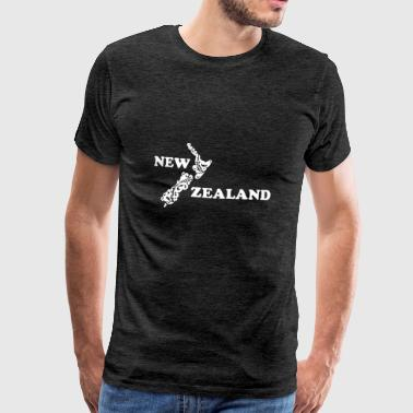 New Zealand: map and lettering in white - Men's Premium T-Shirt