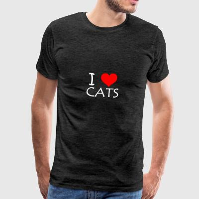 I Love Cats - Premium T-skjorte for menn