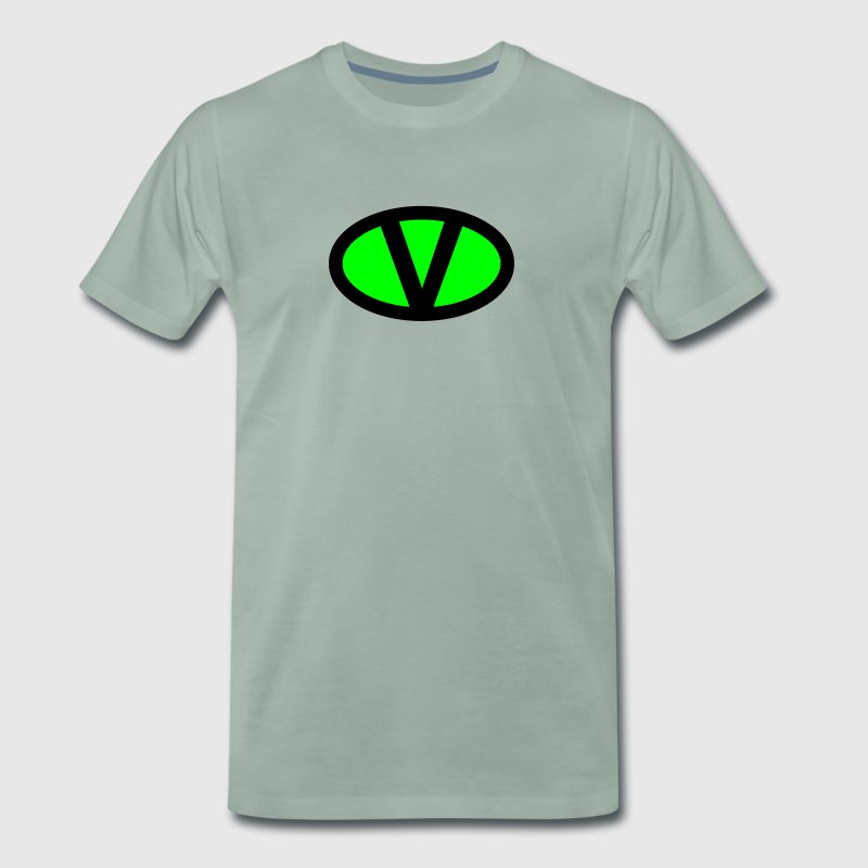 V like vegan symbol comic style, save earth nature - Men's Premium T-Shirt