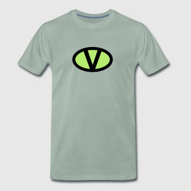 V like vegan symbol comic style, save earth nature - Männer Premium T-Shirt