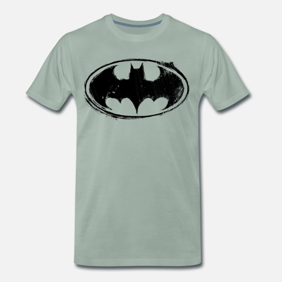 Batman T-shirts - Batman Logo black retro - Premium T-shirt herr grågrön