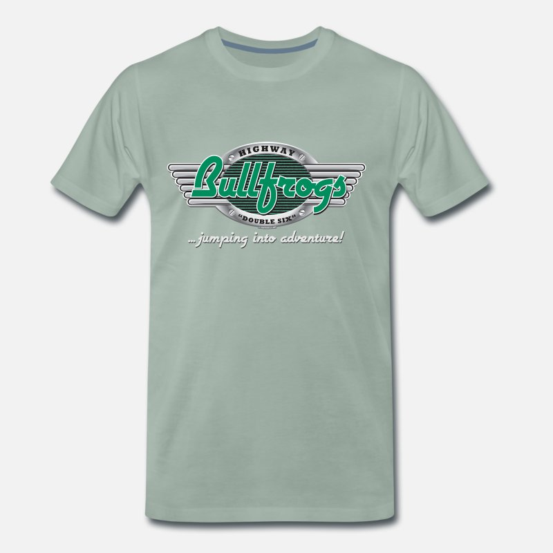Christmas Present T-Shirts - 11A-05 HIGHWAY BULLFROGS, LANDSCAPES - Men's Premium T-Shirt steel green