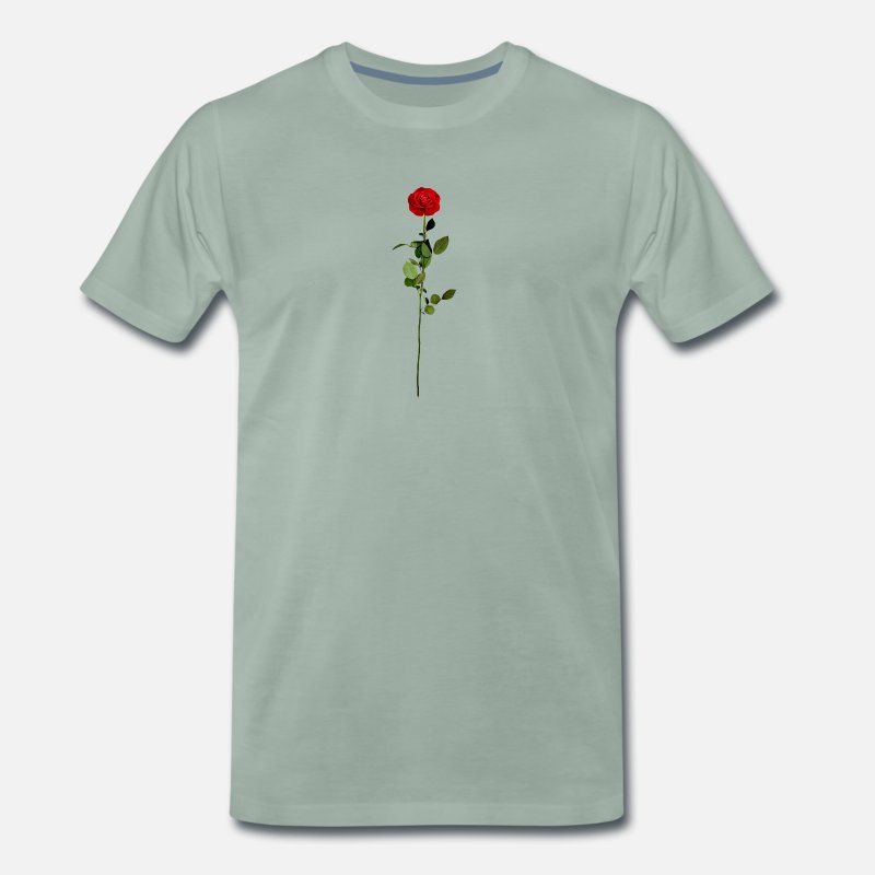 Red Rose T-Shirts - Red rose - Men's Premium T-Shirt steel green