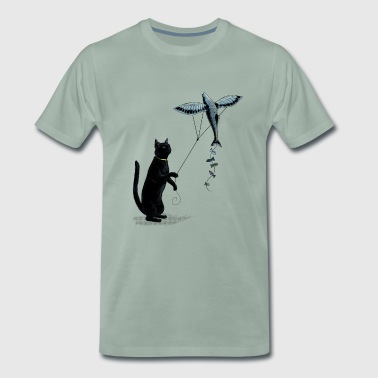 Cat with Flying Fish Kite - Men's Premium T-Shirt
