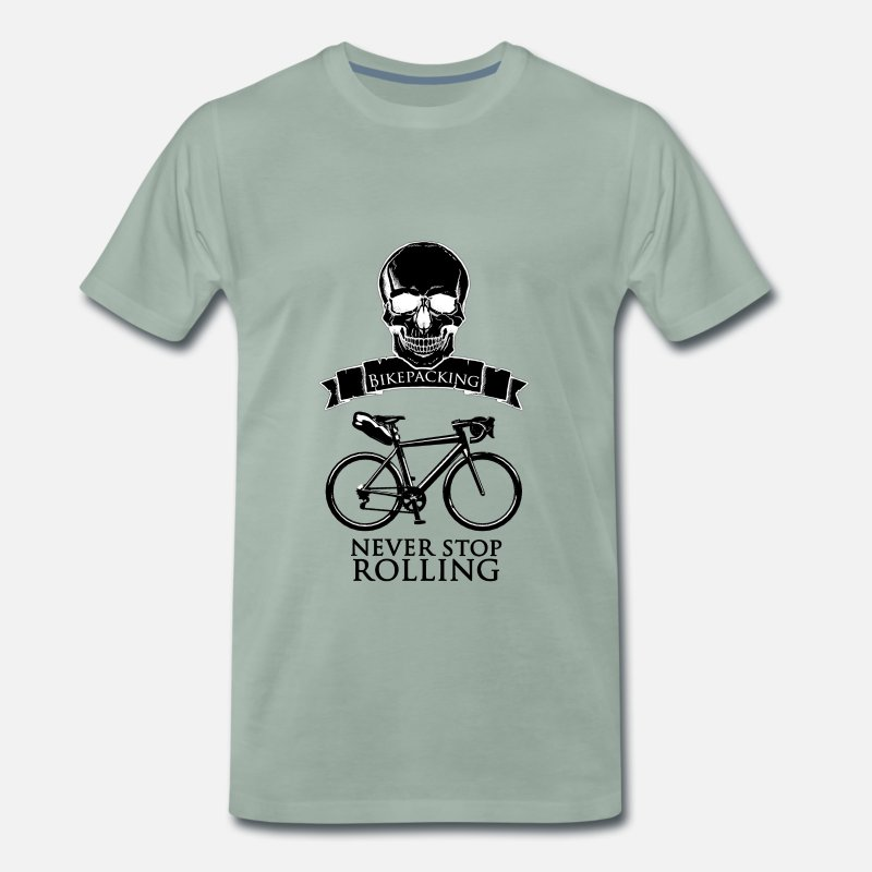 Bicyclette T-Shirts - Never Stop black - Men's Premium T-Shirt steel green