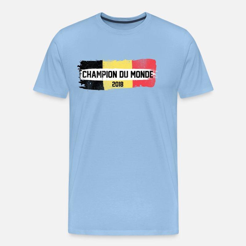 Champion Du Monde Belgique Men S Premium T Shirt Sky