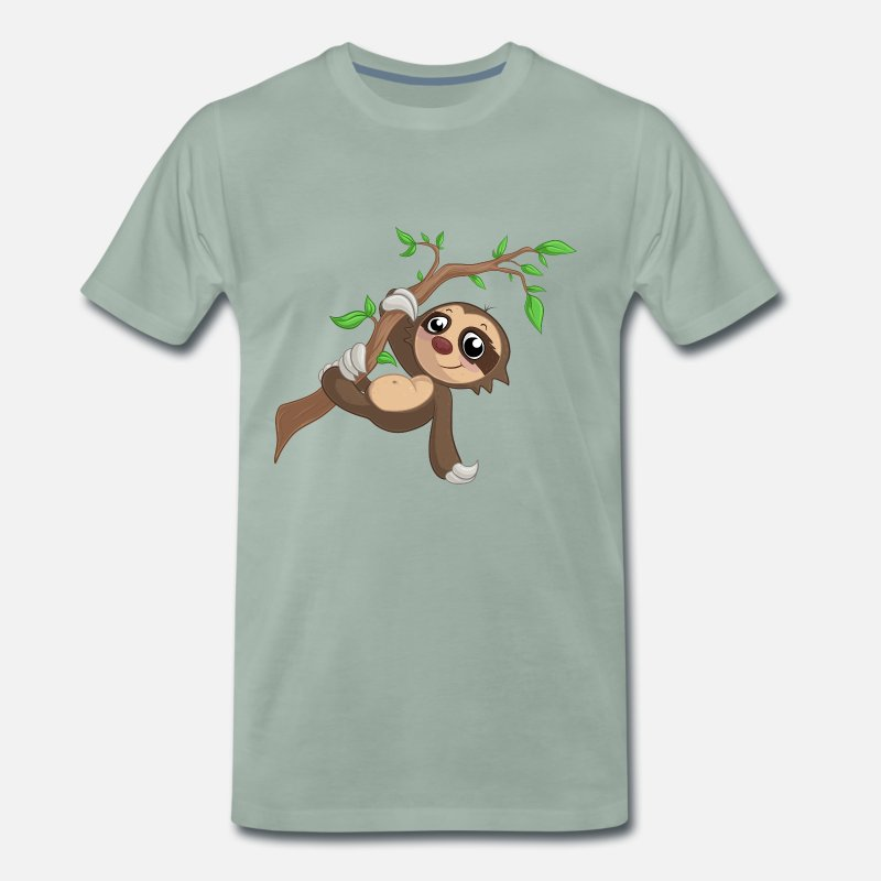 Ast T-Shirts - Hanging cartoon sloth - Men's Premium T-Shirt steel green