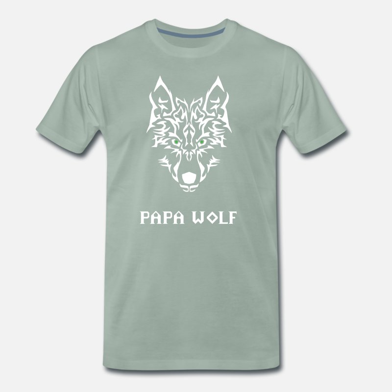 Papa T-Shirts - Papa wolf. Gifts for dads - Men's Premium T-Shirt steel green
