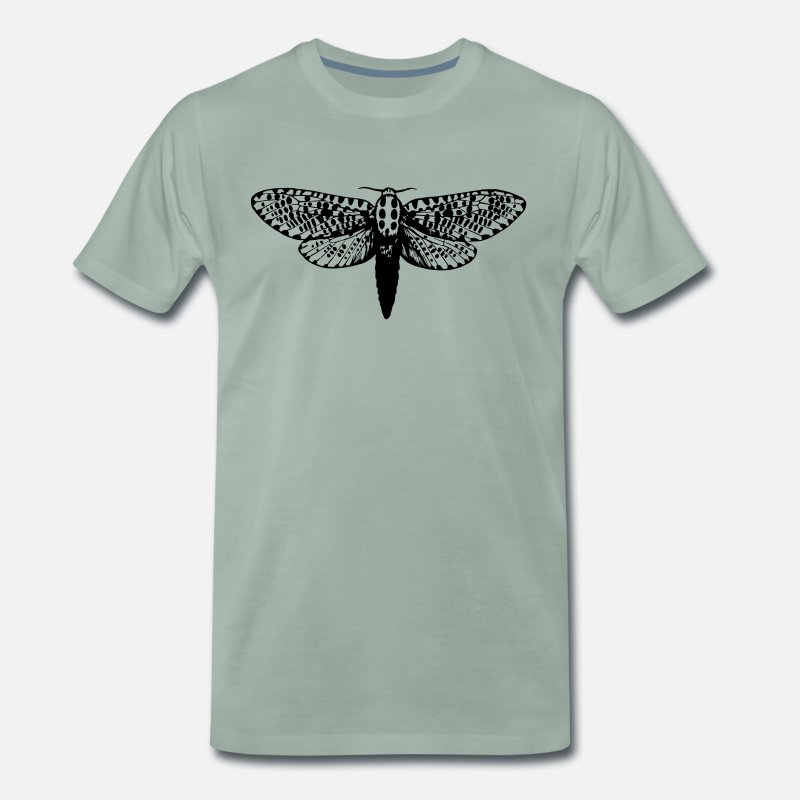 Moth T-Shirts - Moth drawing - Men's Premium T-Shirt steel green