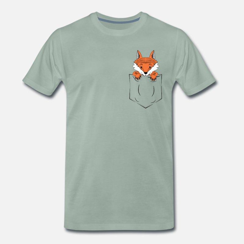 e825ace48c8aa Poche Homme Fuchs Poitrine T Premium Shirt Drôle Cadeau jLA3R54